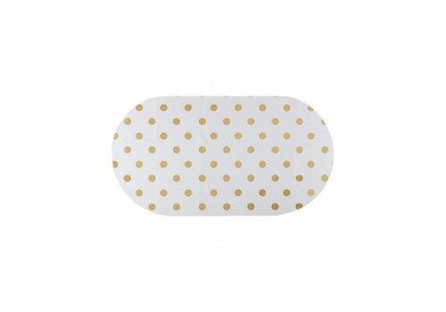MixMamas Tafelzeil Eco Ovaal Wit met gouden stippen 200 cm