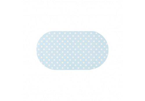 MixMamas Tafelzeil Eco Ovaal Lichtblauw met witte stippen 200 cm