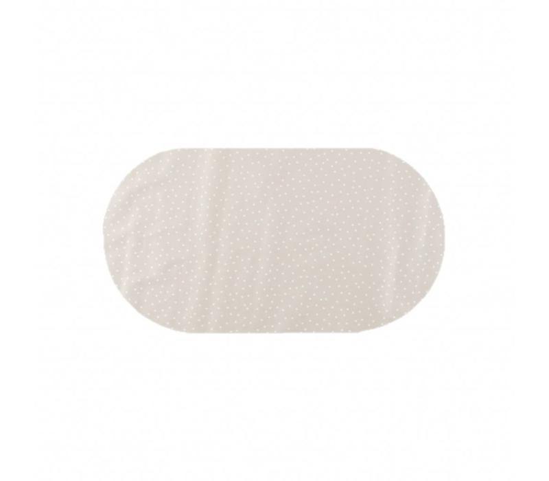 Tafelzeil Eco Ovaal Beige met witte stipjes 200 cm bij 140 cm