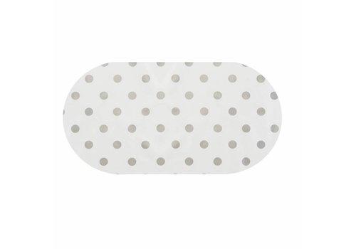 MixMamas Tafelzeil Eco Ovaal Wit met zilveren stippen 250 cm