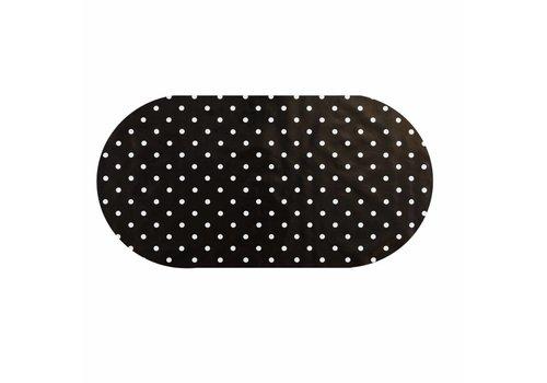 MixMamas Tafelzeil Eco zwartwit grote stip Ovaal 250 cm