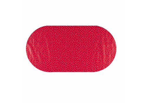 MixMamas Tafelzeil Eco Ovaal rood met witte stipjes 250 cm