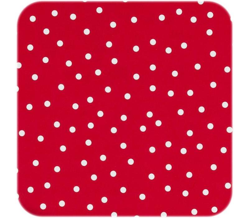 Tafelzeil Eco Ovaal rood met witte stipjes 250 cm bij 140 cm