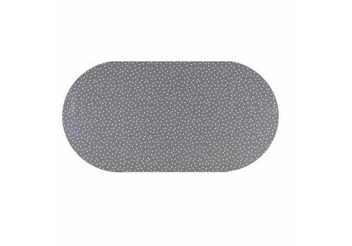 MixMamas Tafelzeil Ovaal - 140 x 250 cm - Stipjes - Grijs/Wit