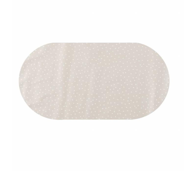Tafelzeil Eco Ovaal Beige met witte stipjes 250 cm bij 140 cm