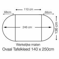 Tafelzeil Ovaal - 140 x 250 cm - Stipjes - Beige/Wit
