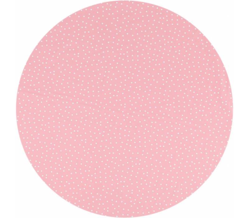 Tafelzeil Eco Rond roze met witte stipjes 140cm
