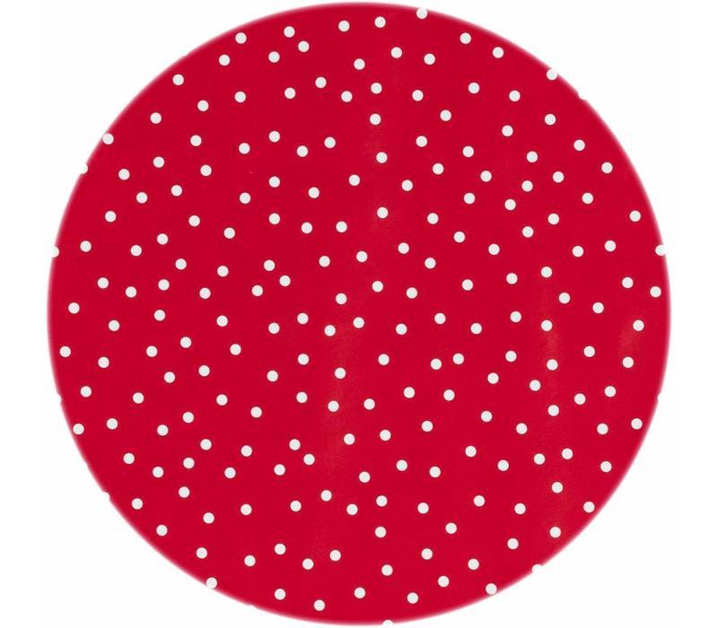 Tafelzeil Eco Rond rood met witte stipjes 140cm