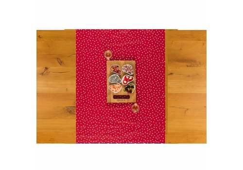 MixMamas Tafelloper Tafelzeil Biertafel Eco Rood met witte stipjes 5 m x 70 cm