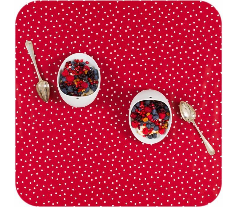 Tafelloper tafelzeil Eco Rood met witte stipjes op rol 5m bij 70cm