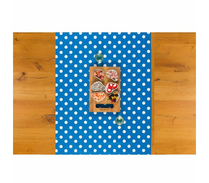 Tafelzeil Tafelloper - Grote Stip - Rol - 70 x 500 cm - Blauw/Wit