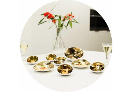MixMamas Gecoat Rond Tafelkleed Linnen Wit met goud 180cm