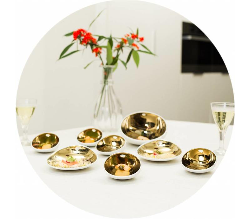 Gecoat tafelkleed Linnen Wit met gouddraad Rond 180cm