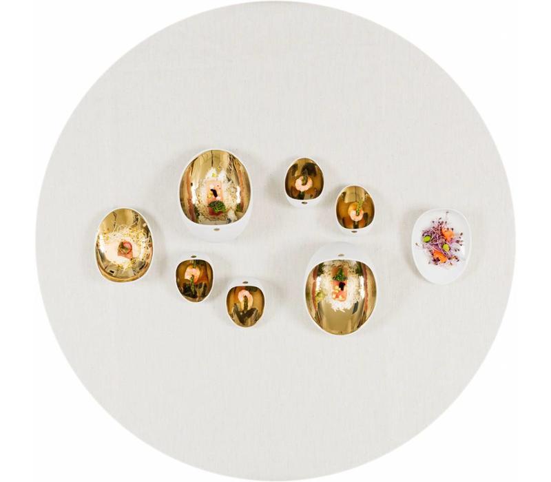 Gecoat rond tafelkleed Linnen Wit met gouddraad 180cm