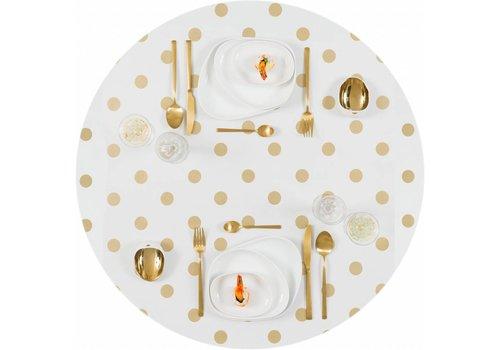 MixMamas Tafelzeil Eco Wit met gouden stippen rond 140cm