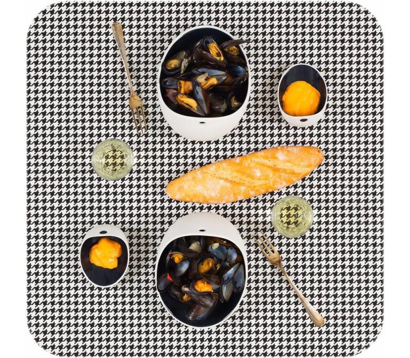 Cookplay Jomon Large Kom - Porselein - 18 x 14 x 9 cm - Zwart/Wit