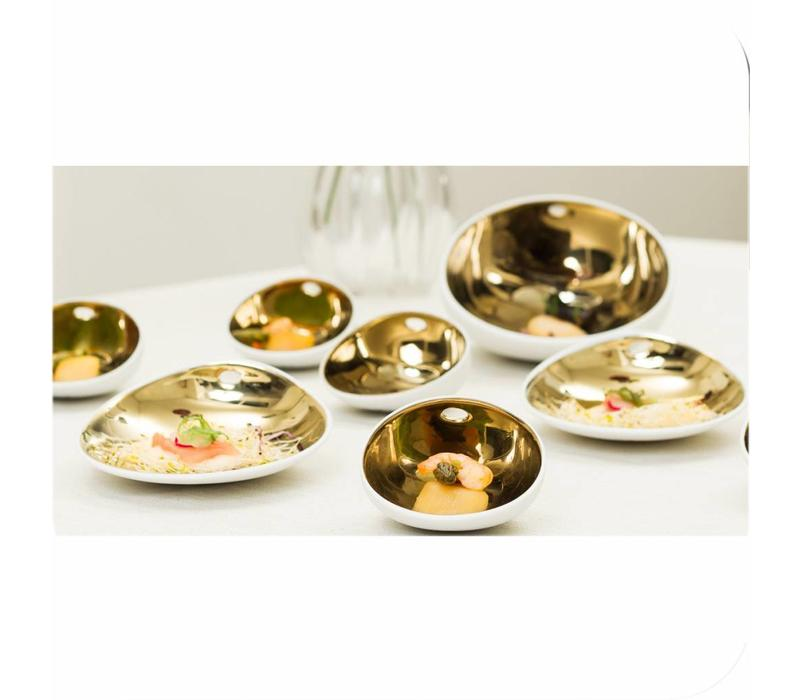 Cookplay Jomon Small Schaaltje - Porselein - 14 x 11 x 4 cm - Goud/Wit