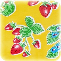 Tafelzeil Aardbei - 120 x 270 cm - Geel