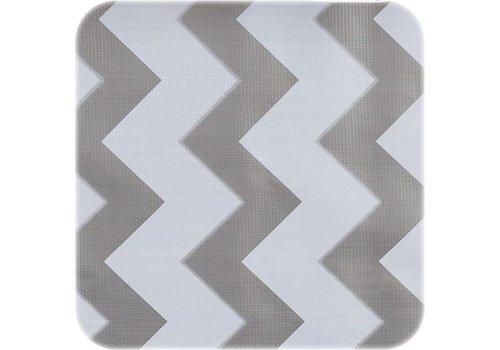 MixMamas Tafelzeil Zigzag - 120 x 270 cm - Zilver/Wit