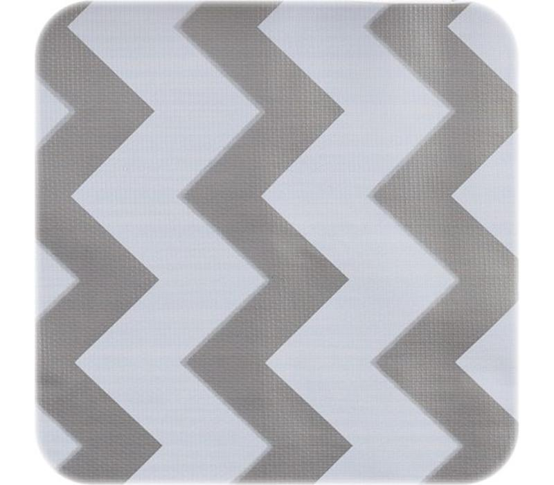 Tafelzeil Zigzag - 120 x 270 cm - Zilver/Wit