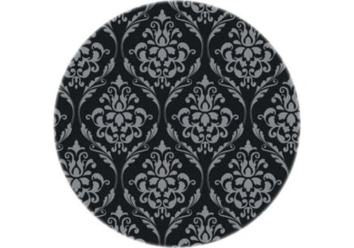 MixMamas Tafelzeil Eco barok zwart-zilver rond 140 cm