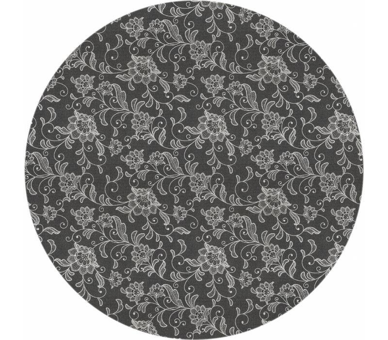 Rond Tafelkleed Gecoat - Ø 160 cm - Floral - Antraciet/Grijs