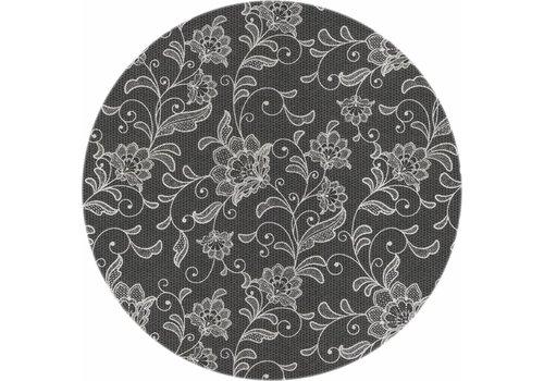 MixMamas Rond Tafelkleed Gecoat - Ø 160 cm - Floral - Antraciet/Grijs