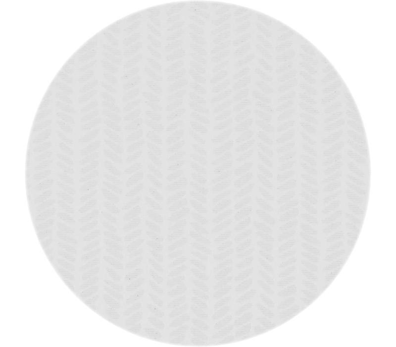 Rond Tafelkleed Gecoat - Ø 160 cm - Feuilles - Jacquard - Wit