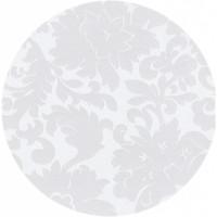 Rond Tafelkleed Gecoat - Ø 160 cm - Bloem - Jacquard - Wit