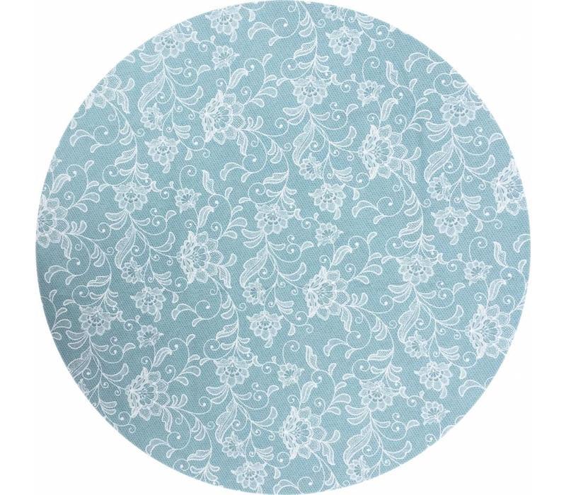 Rond Tafelkleed Gecoat - Ø 160 cm - Floral - Blauw