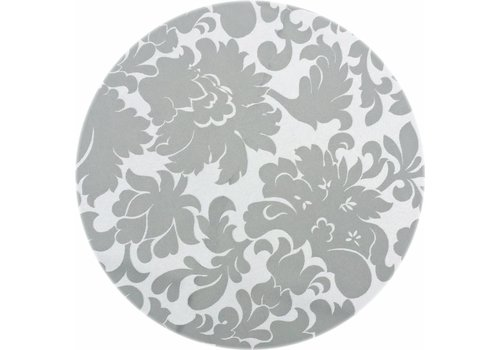 MixMamas Rond Tafelkleed Gecoat - Ø 160 cm - Bloem - Jacquard - Grijsgroen