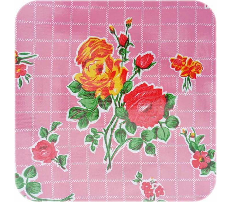 Mexicaans Tafelzeil Rozendal Vierkant - 120 x 120 cm - Roze