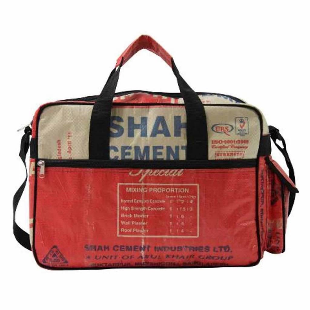 Used2b Ruige schooltas gemaakt van upcycled cementzakken rood