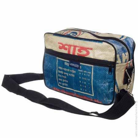 Used2b Stoer schoudertasje Post it Cementzakken blauw