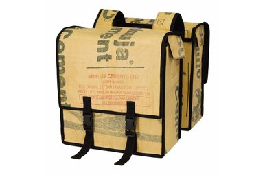Double pannier bags Upcycled from Cement bags, open top