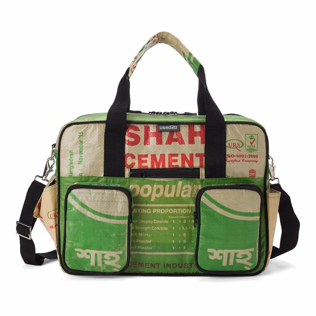 Used2b Ruige schooltas gemaakt van upcycled cementzakken groen