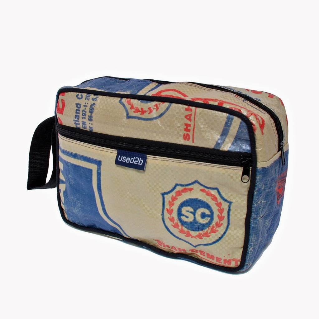 Used2b Toiletry bag cement bags Shah blue
