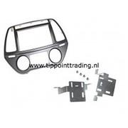 Hyundai I40 2011> dubbel din voor navigatie met metalen beugels zilver handmatige klimaatbeheersing