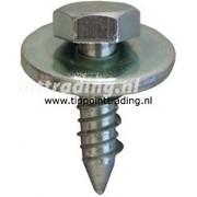 Plaatschroef zeskantkop met ring 6,5 x 20 mm blank gegalvaniseerd, (50 stuks)
