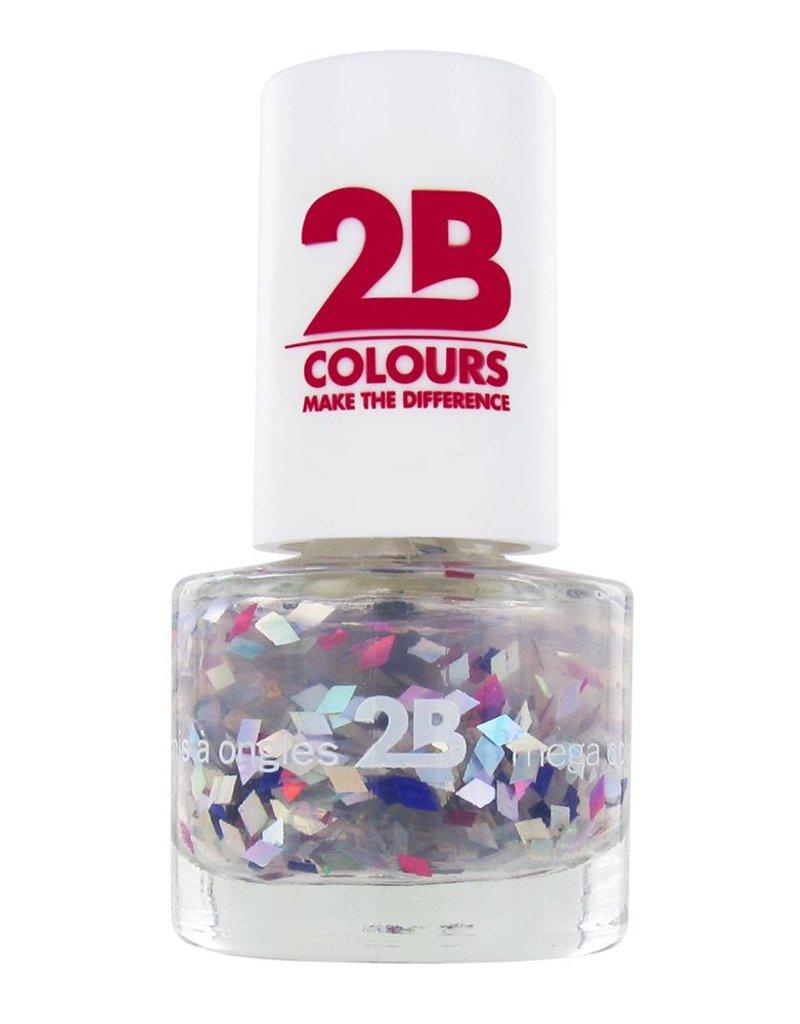 2B Cosmetics NAIL POLISH MEGA COLOURS MINI - 49 Harlekino - Violet & Silver