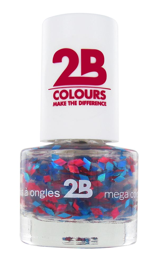 2B Cosmetics VERNIS à ONGLES MEGA COLOURS MINI - 51 Harlekino - Red & Blue