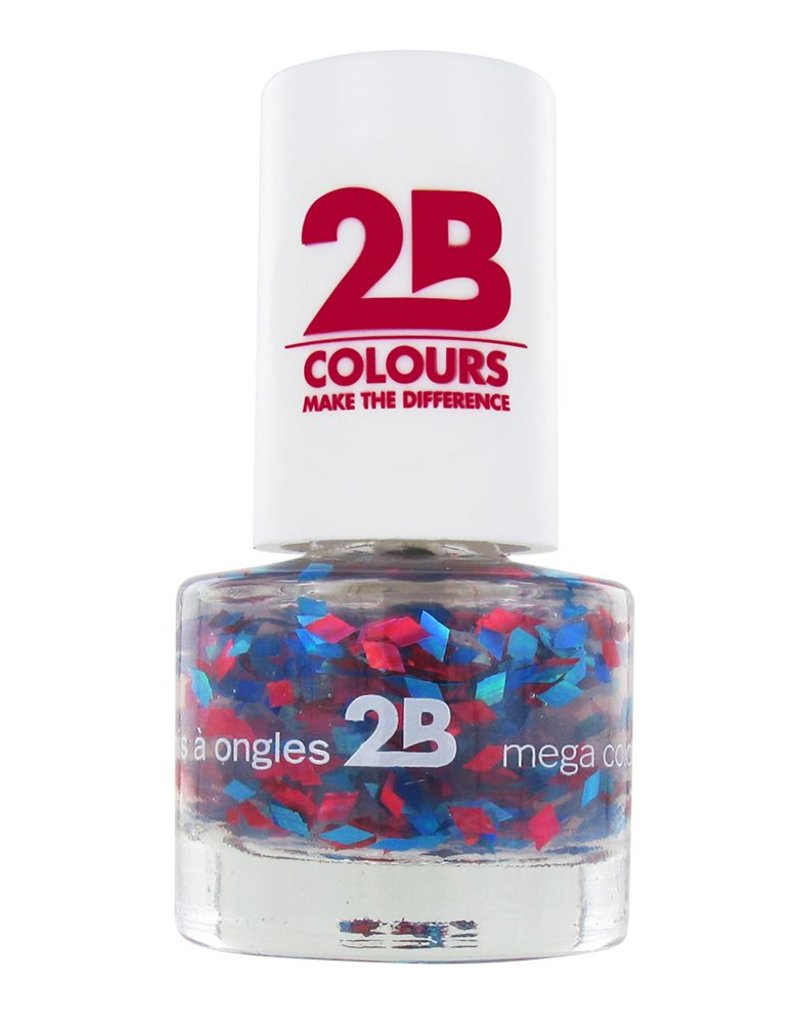 2B Cosmetics NAGELLAK MEGA COLOURS MINI - 51 Harlekino - Red & Blue