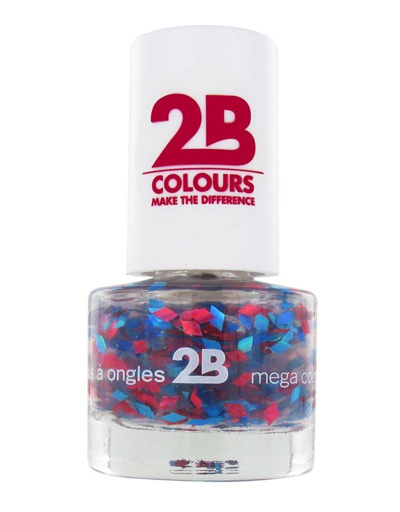 2B Cosmetics NAIL POLISH MEGA COLOURS MINI - 51 Harlekino - Red & Blue