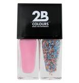 2B Cosmetics Nagellak Duo - Pink & blue, white dots
