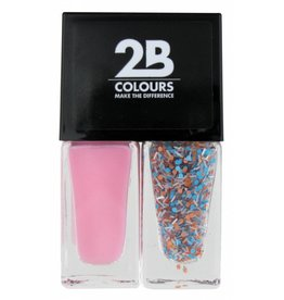 2B Cosmetics Nagellak Duo - Pink & blue, white dots