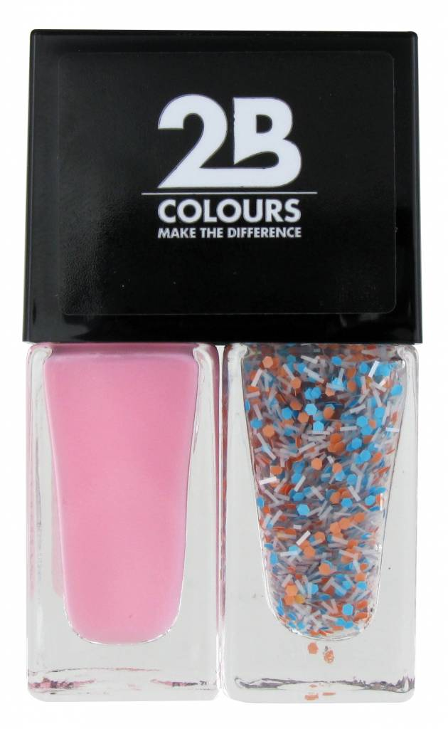 2B Cosmetics Vernis à Ongles Duo - Pink & blue, white dots