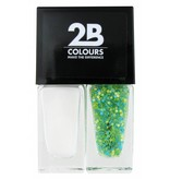 2B Cosmetics Nail polish Duo - White & green blue dots