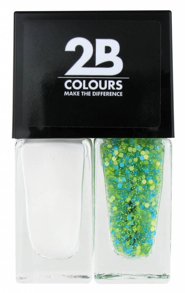 2B Cosmetics Nagellak Duo - White & green blue dots