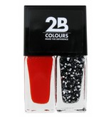 2B Cosmetics Nail polish Duo - Abstract red & silver glitters