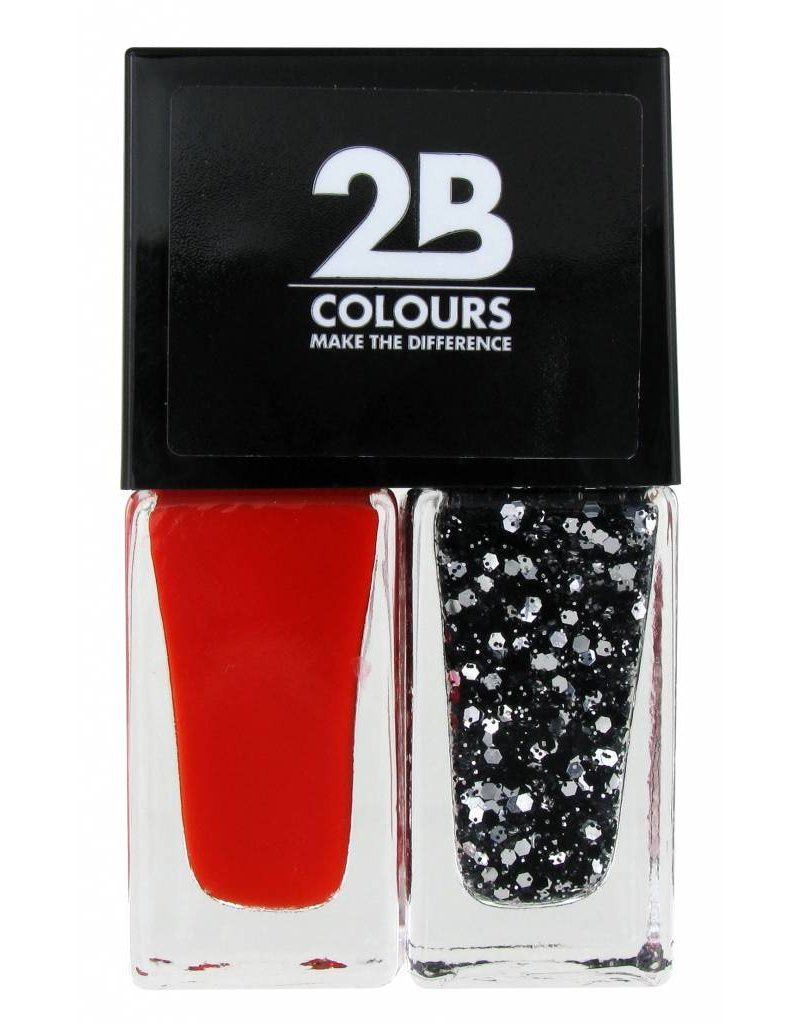 2B Cosmetics Nagellak Duo - Abstract red & silver glitters